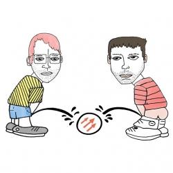 Peeing on Pitchfork Logo